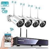 4CH 1080p HD Überwachungskamera CCTV System mit WiFi NVR/WLAN IP Kamera Überwachungskamera Set 4Pcs 1080P Überwachungskamera Aussen WLAN,20m IR Nachtsicht, Bewegung Alarm durch