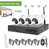WLAN Videoüberwachung Set Kabellos, Aottom 8CH 720P WLAN Überwachungskamera System, 8CH NVR + 4X 1MP Überwachungskameras Outdoor, Bewegungserkennung, P2P, Beweungsmelder, Wasserdicht, Keine Festplatte