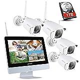 ANNKE Überwachungskamera Set mit Monitor 1080P 8CH 12 Zoll 2.0Megapixel Funk NVR Überwachungssystem mit 4 x 1080P WLAN IP Kamera Vorinstalliert 1TB Festplatte Videoüberwachungssystem für Innen Außen